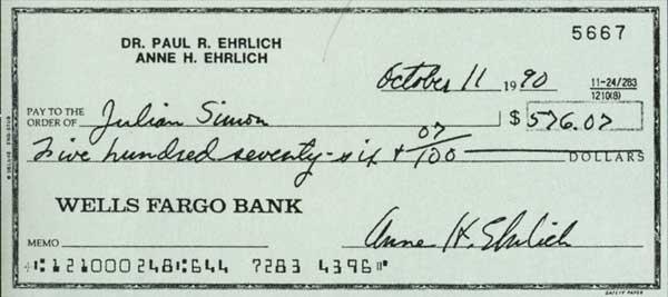 El cheque de los 576 dolares de Ehrlich a Simon. Fair Play, amigos, fair play..
