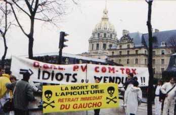 Las manifestaciones de París para protestar contra los efectos del %22Gaucho%22 en las abejas. Liberté y Fraternité a tope