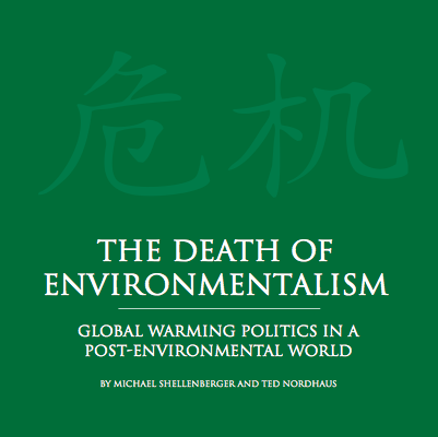 La portada del famoso %22the death of environmentalism%22 com el no menos famoso y falso proverbio chino de que el simbolo de crisis es oportunidad y amenaza. Pues no
